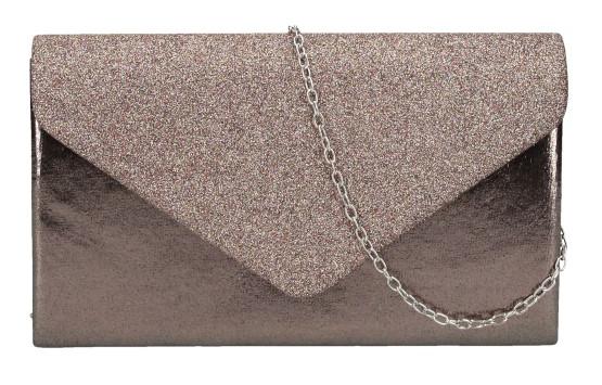 Tmavo hnedá dámska listová kabelka na retiazke HD827
