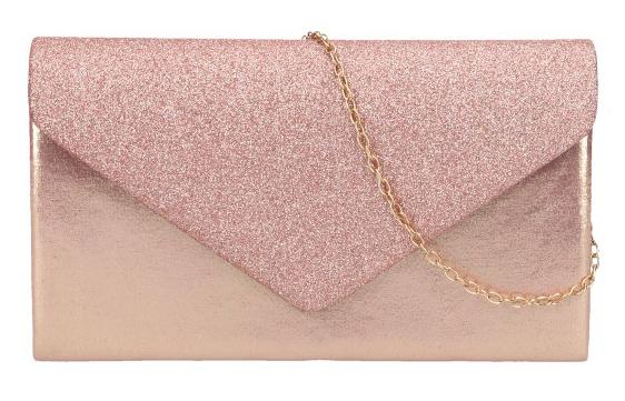 Ružovo zlatá dámska listová kabelka na retiazke HD827