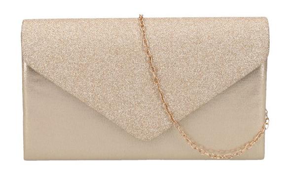 Zlatá dámska listová kabelka na retiazke HD827