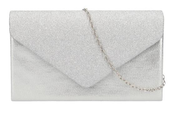 Strieborna dámska listová kabelka na retiazke HD827