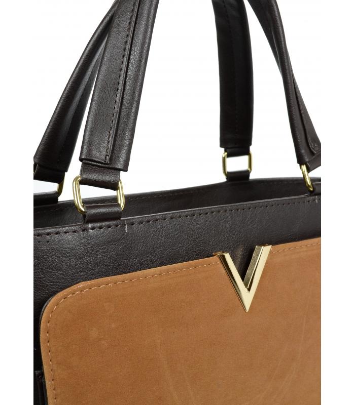 Hnědá elegantní dámská kabelka se zlatou aplikací S617 GROSSO