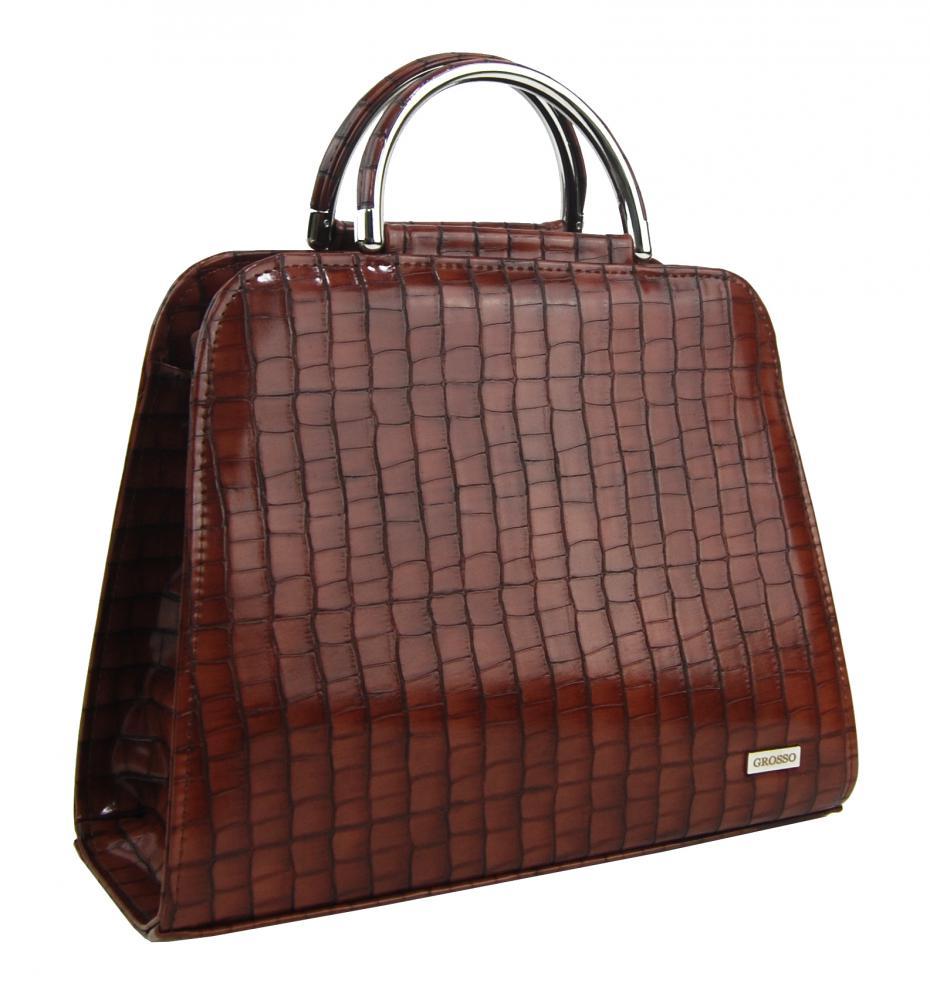 Luxusní hnědá kroko dámská kabelka do ruky S81 GROSSO