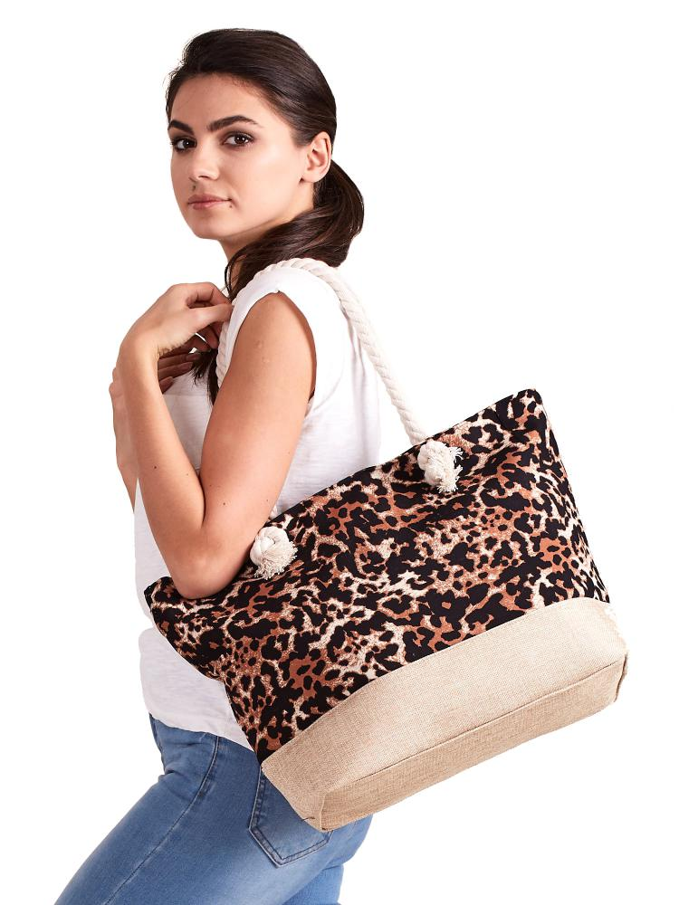 CAVALDI Plážová taška hnědá s motivem leoparda