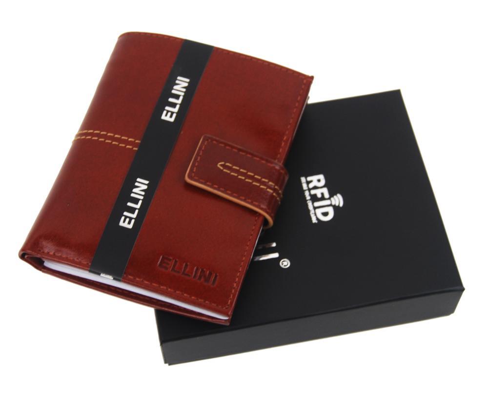 Ellini hnědá pánská RFID luxusní kožená peněženka v dárkové krabičce
