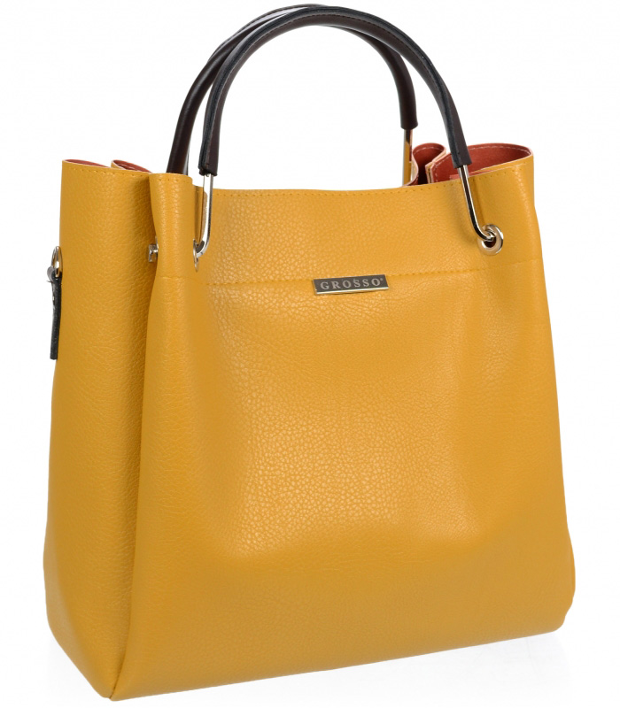 Žlutá hořčicová elegantní dámská kabelka S728 GROSSO