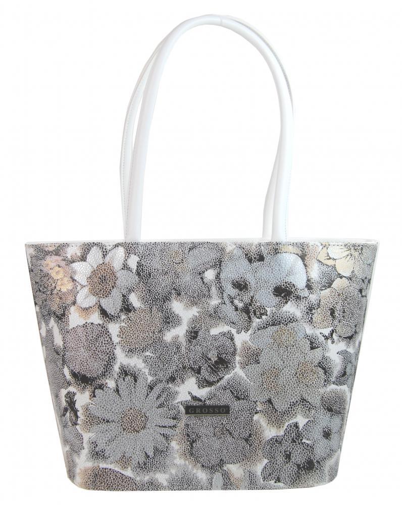 Bílá dámská kabelka v motivu květin S533 GROSSO
