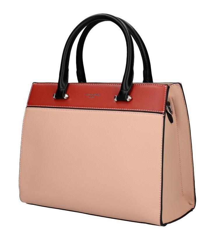 DAVID JONES ružová dámska kabelka s tromi sekciami 6217-2