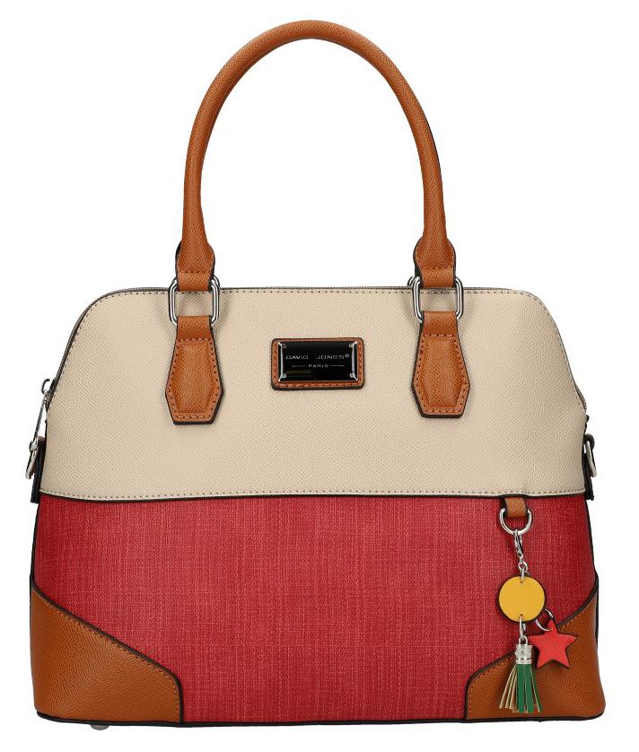 DAVID JONES krémová oblá barevná dámská kabelka do ruky 6242-3