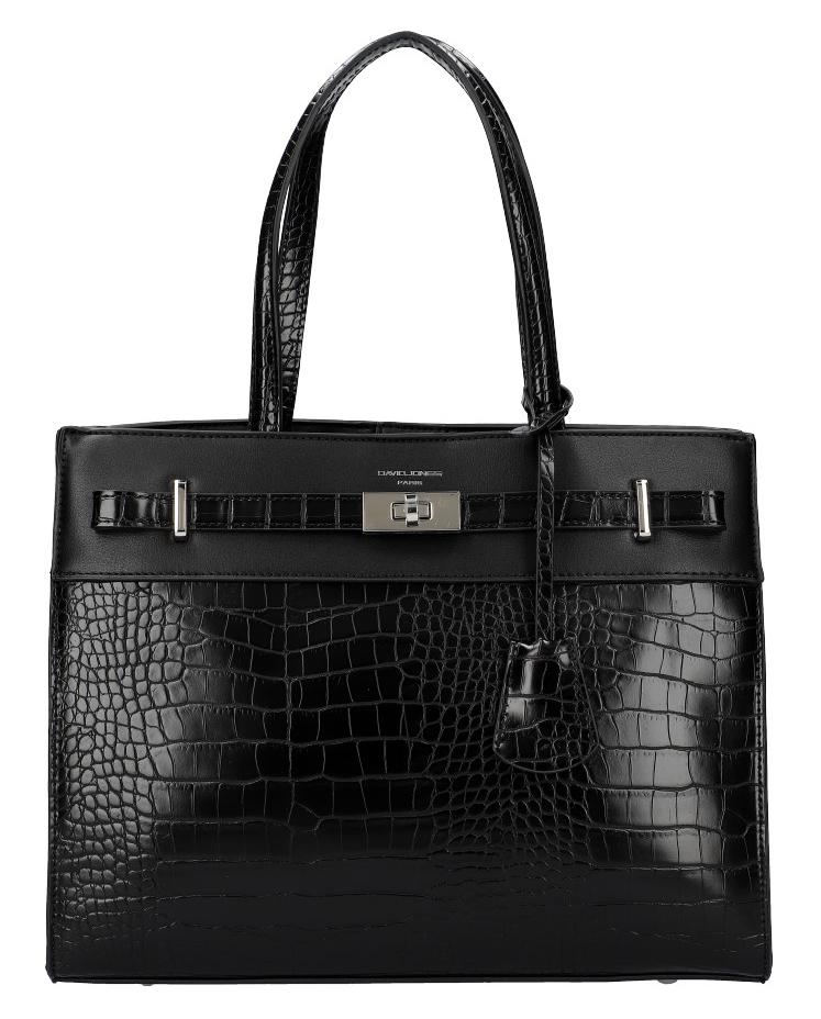 DAVID JONES černá moderní kroko dámská kabelka se třemi sekcemi CM5634
