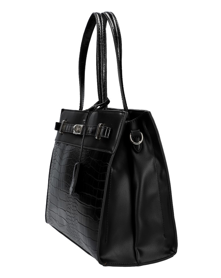 DAVID JONES čierna moderná kroko dámska kabelka s tromi sekciami CM5634