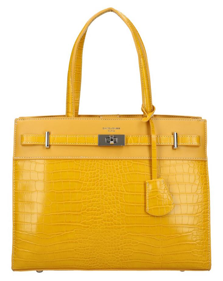 DAVID JONES žltá moderná kroko dámska kabelka s tromi sekciami CM5634