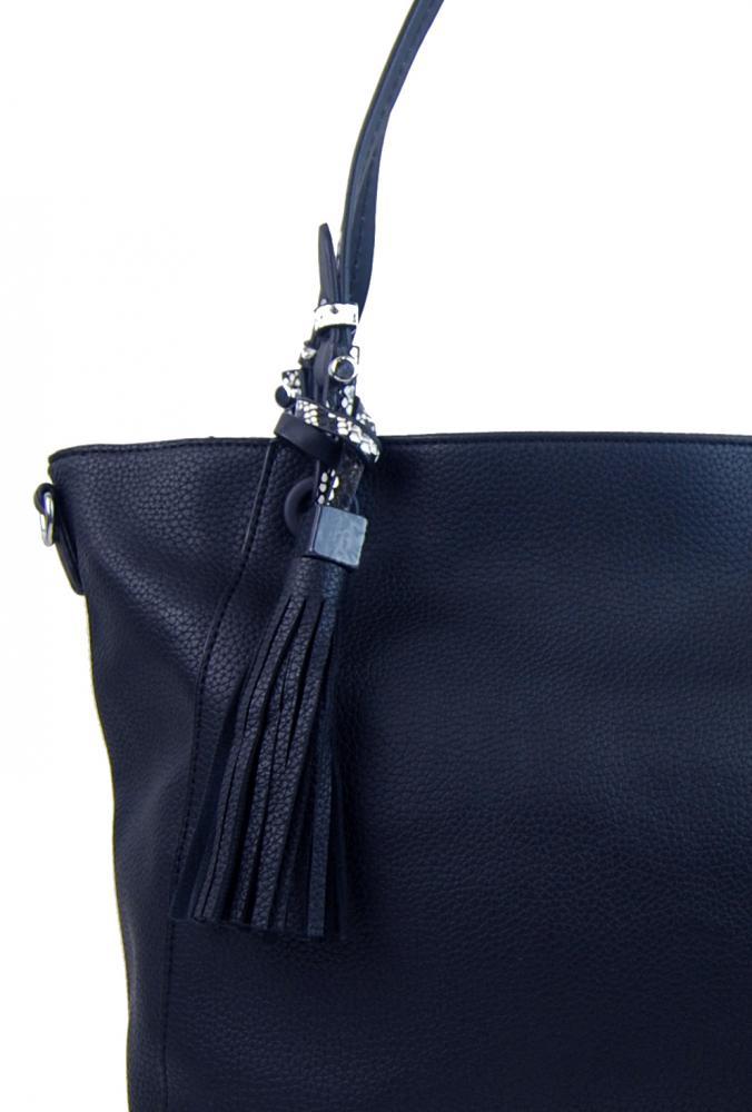 Atramentovo modrá moderná kabelka cez plece 4919-BB