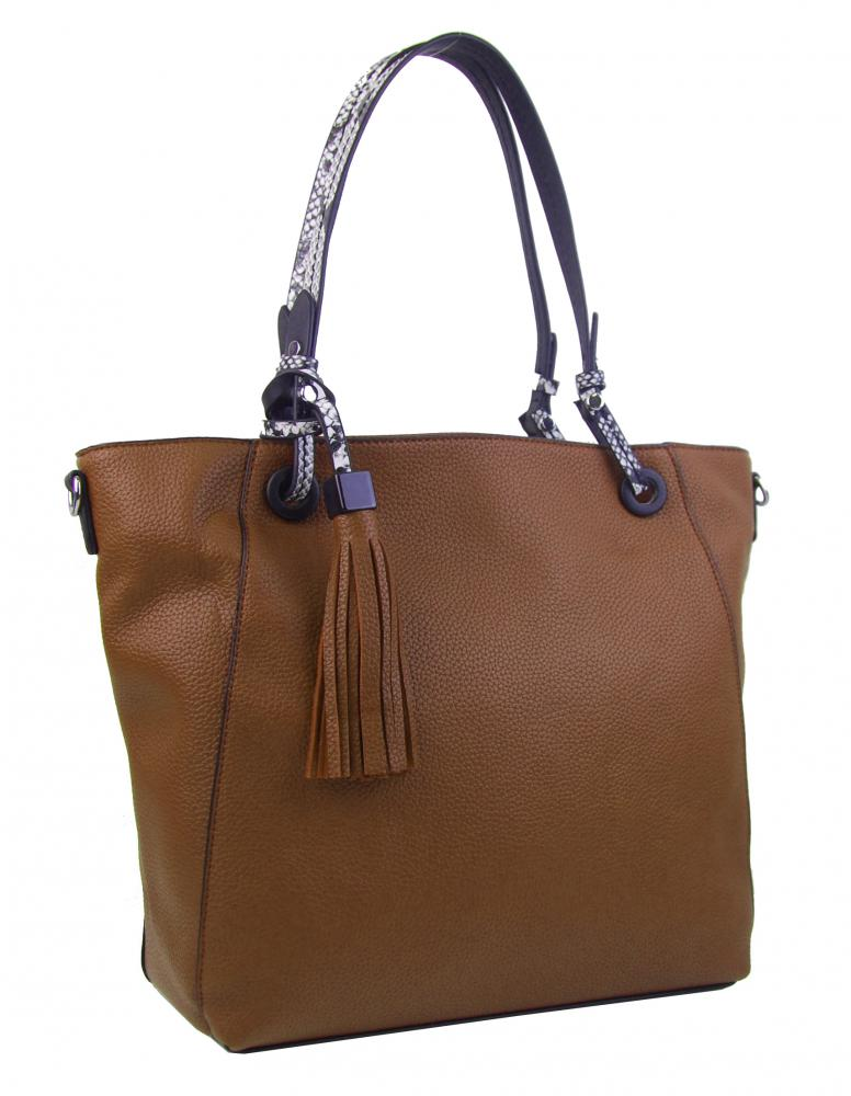 Hnedá moderná kabelka cez plece 4919-BB