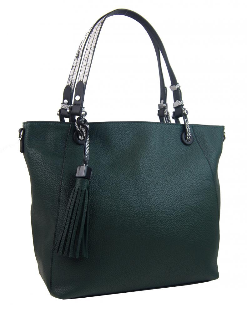 Tmavo zelená moderná kabelka cez plece 4919-BB