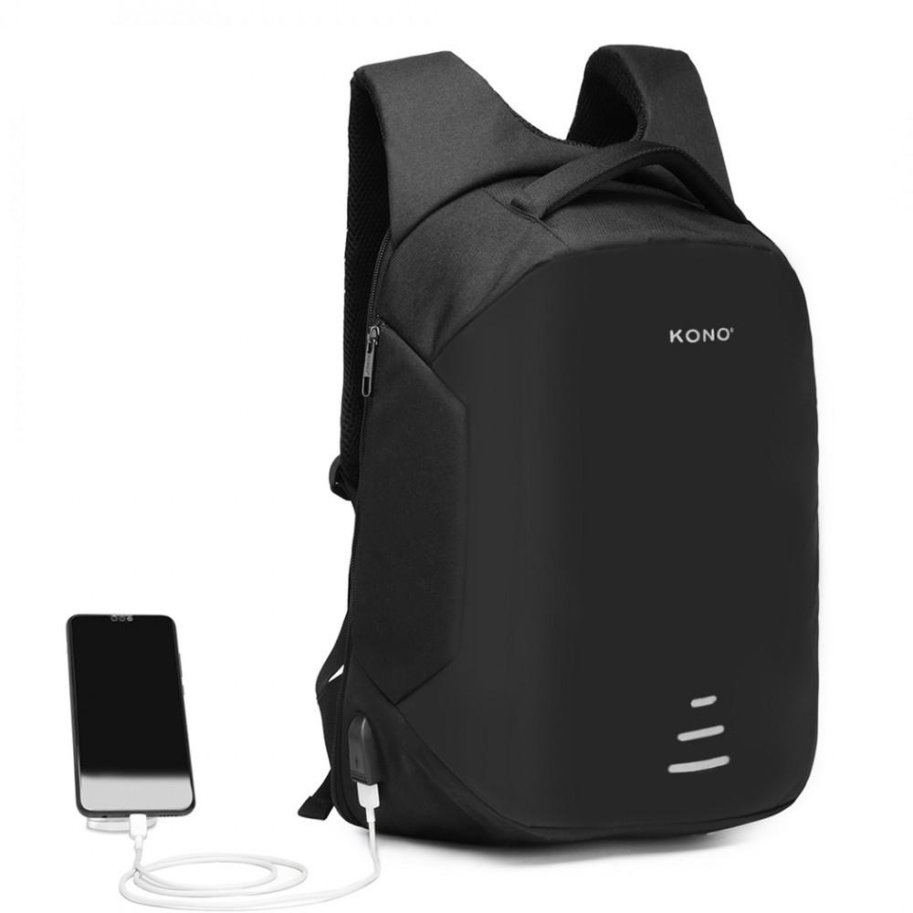 KONO čierny reflexný elegantný batoh s USB portom UNISEX