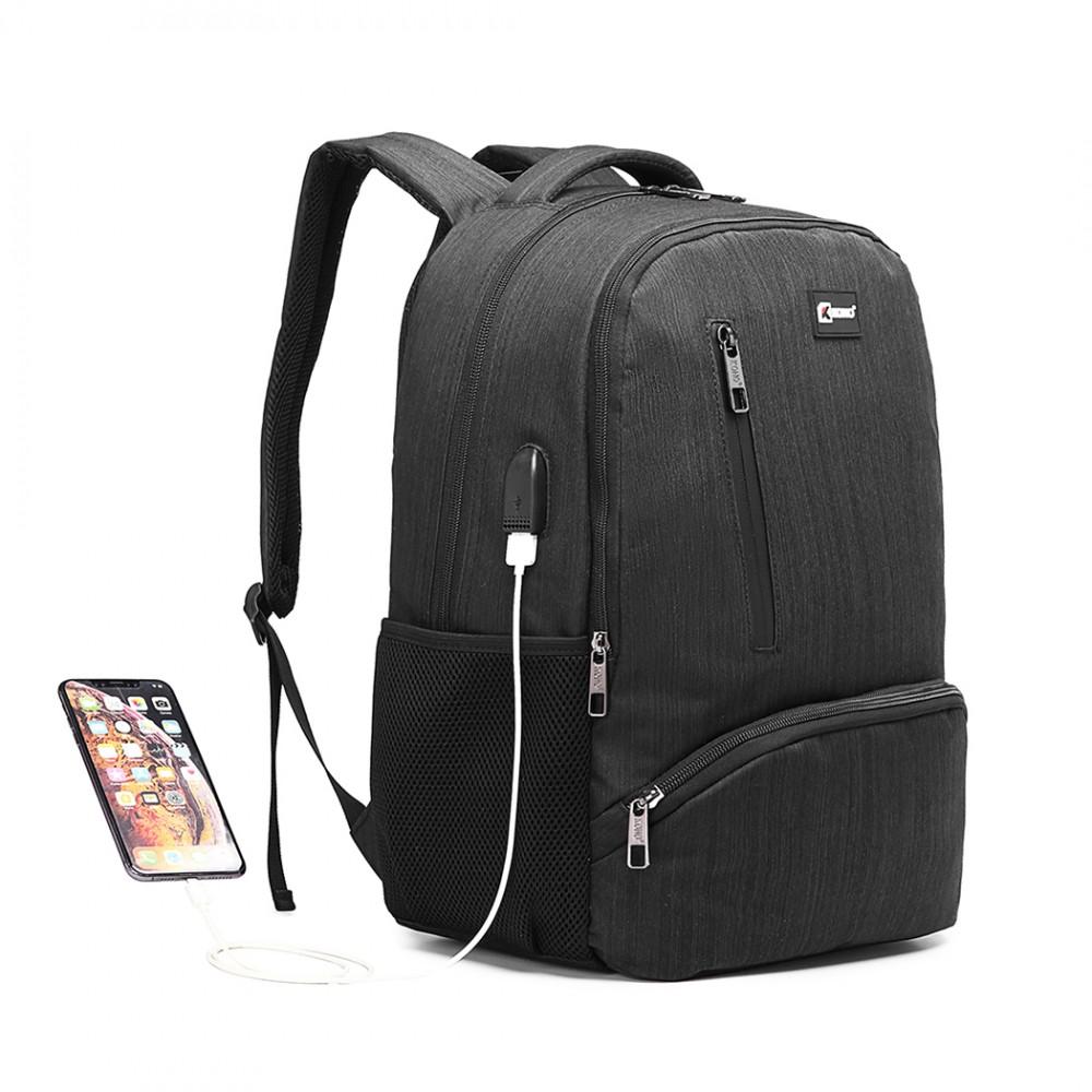 KONO černý moderní elegantní batoh s USB portem UNISEX