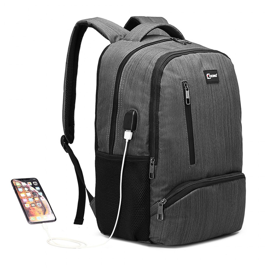 KINO šedý moderný elegantný ruksak s USB portom UNISEX