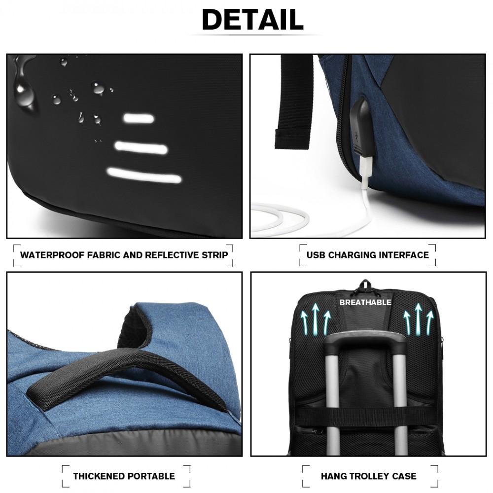 KONO čierno-modrý reflexný elegantný batoh s USB portom UNISEX