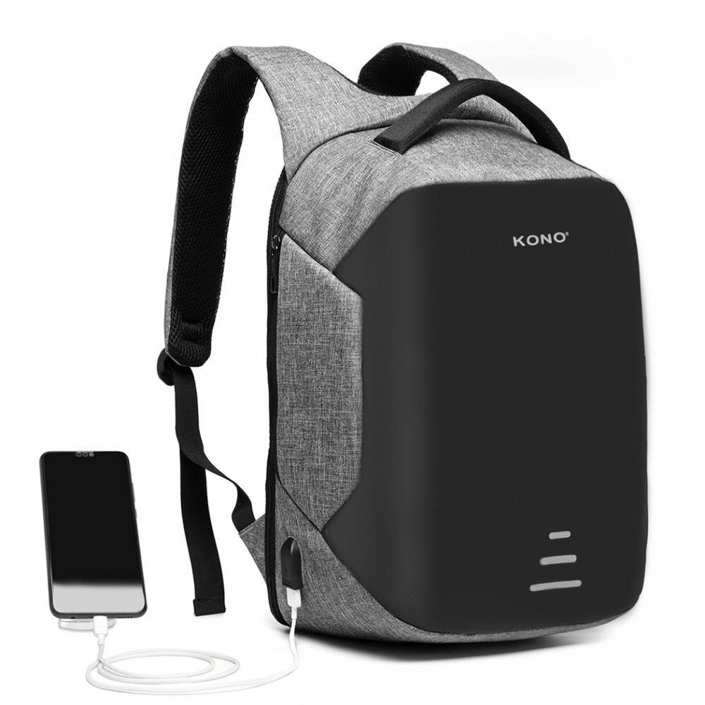 KONO čierno-šedý reflexný elegantný batoh s USB portom UNISEX
