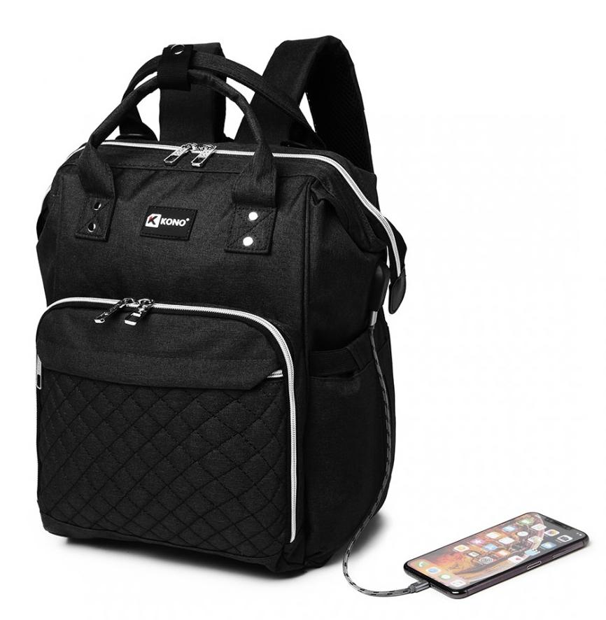 KONO Čierny batoh pre mamičky s USB portom vhodný aj na kočík
