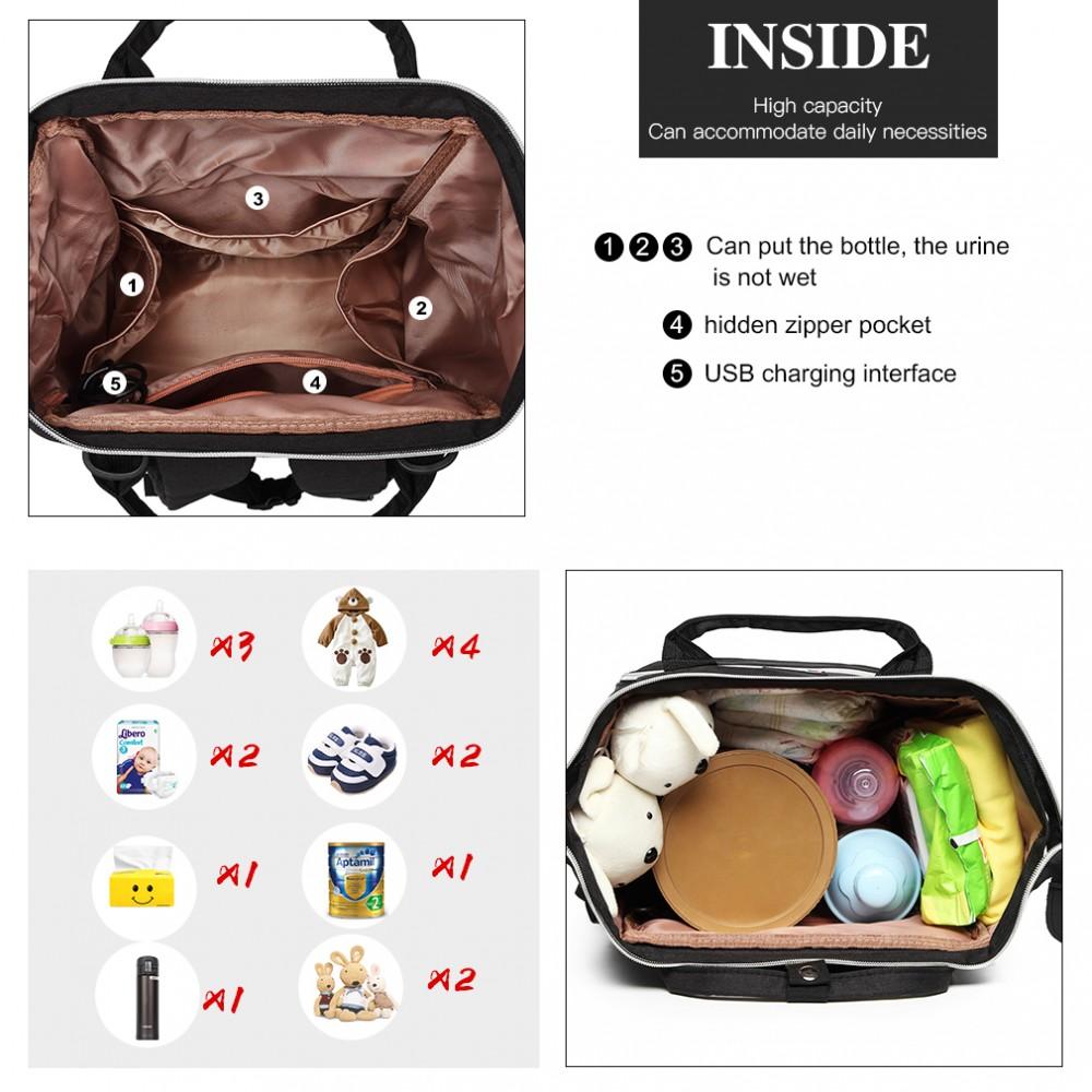 KONO Černý batoh pro maminky s USB portem vhodný i na kočárek