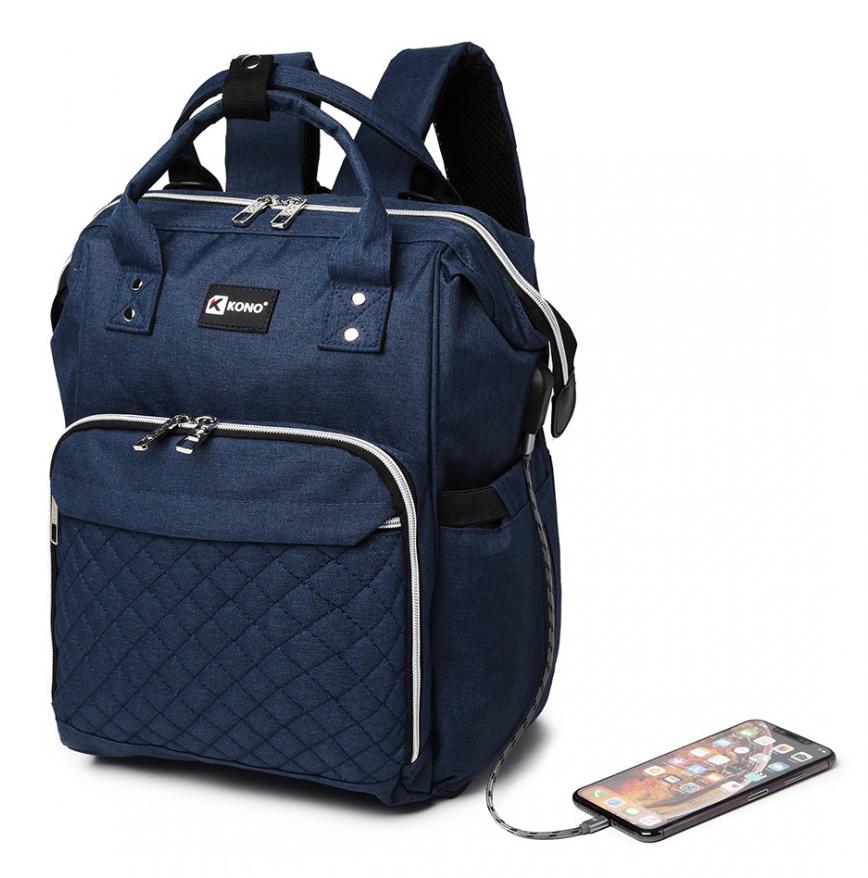 KONO Modrý batoh pre mamičky s USB portom vhodný aj na kočík