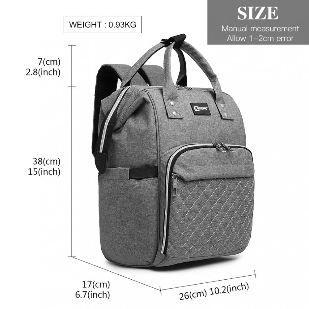 KONO Šedý batoh pre mamičky s USB portom vhodný aj na kočík