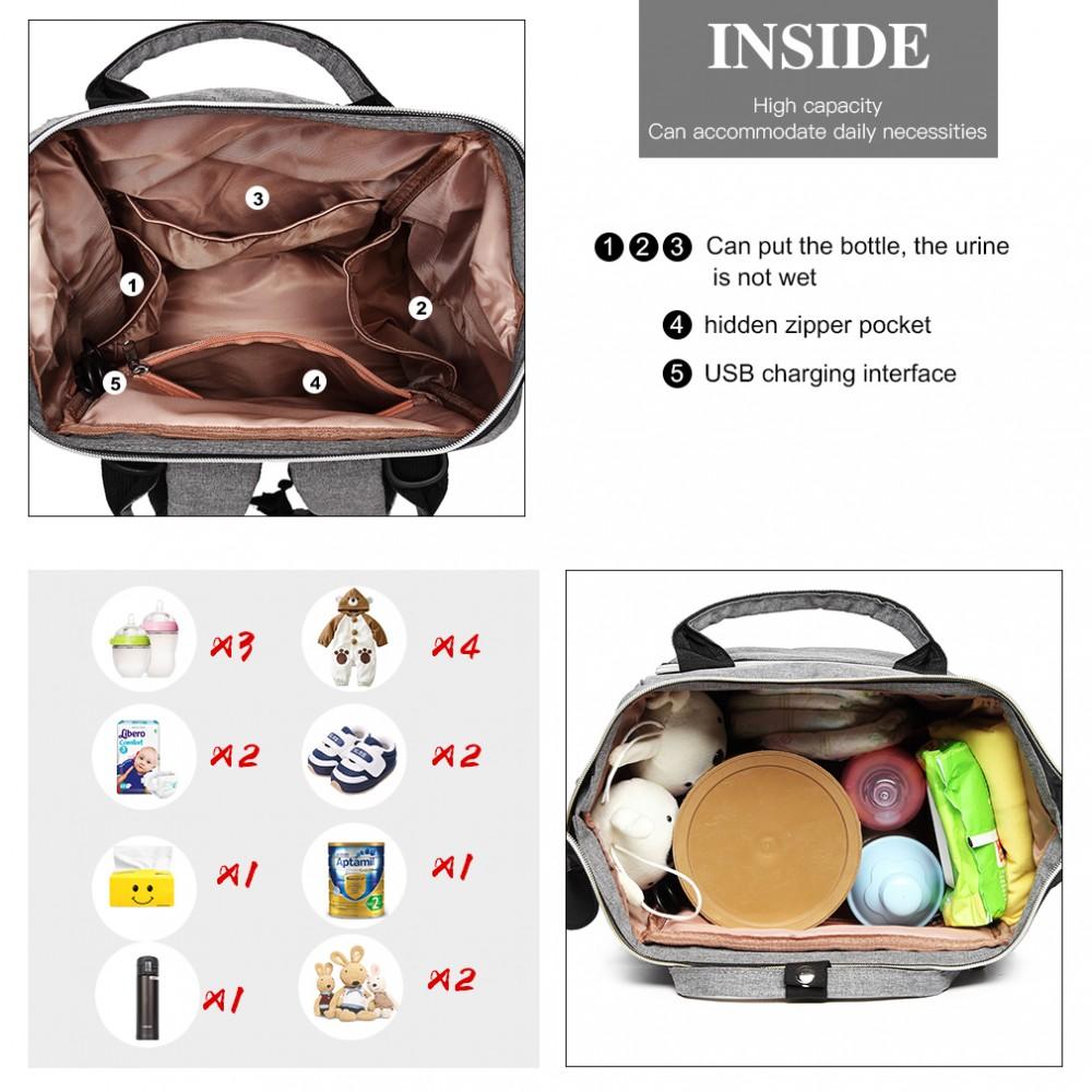 KONO Šedý batoh pro maminky s USB portem vhodný i na kočárek