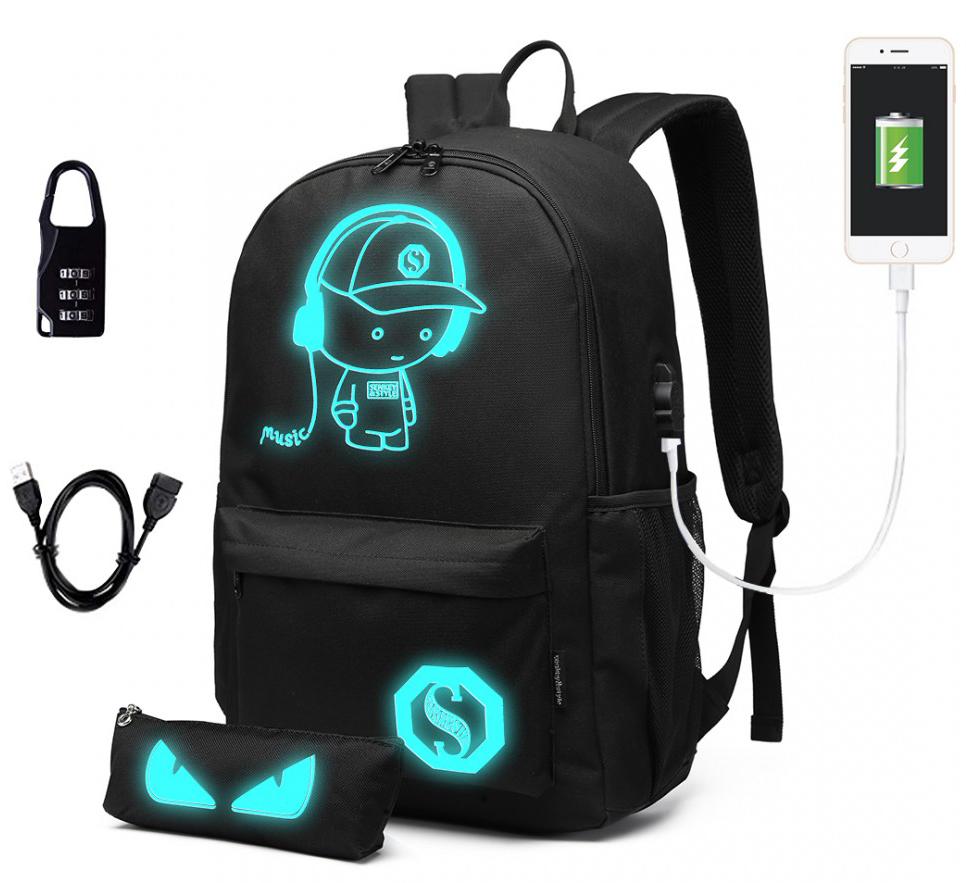 Music svítící černý studentský batoh s pouzdrem, USB port