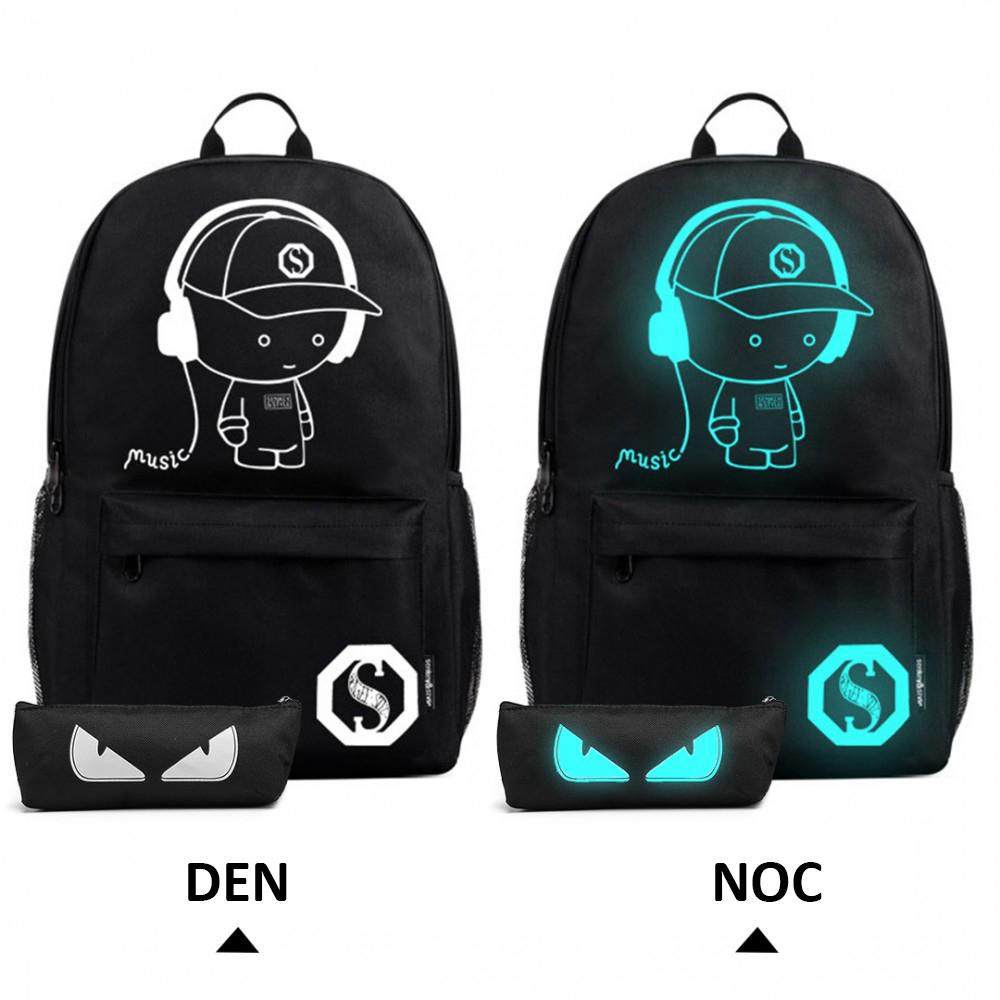 Music svietiaci čierny študentský batoh s puzdrom, USB port