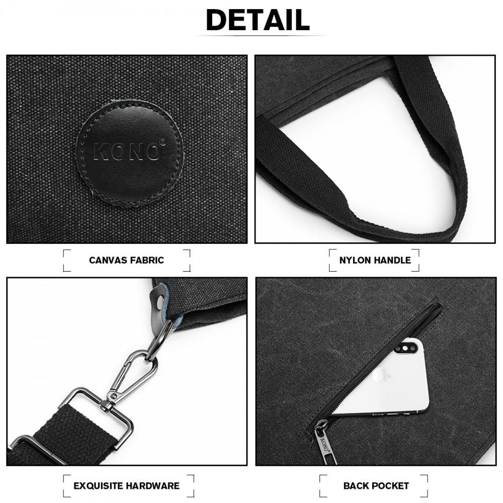 KONO Unisex crossbody messenger taška E1965 čierna