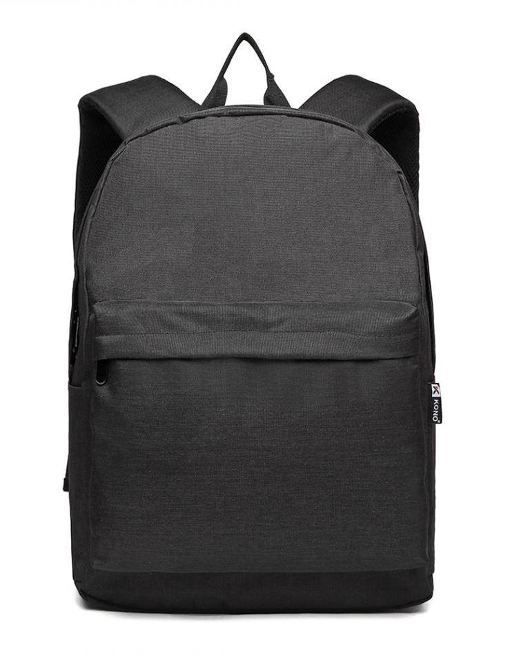 KONO Velký školní batoh černý Unisex