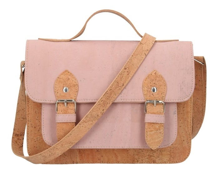 Korková ružová aktovková crossbody kabelka
