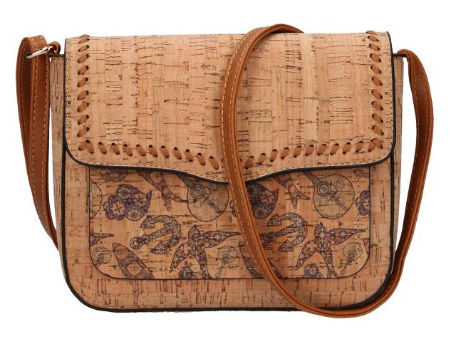 Crossbody dámská kabelka v korkovém designu 20252-M1