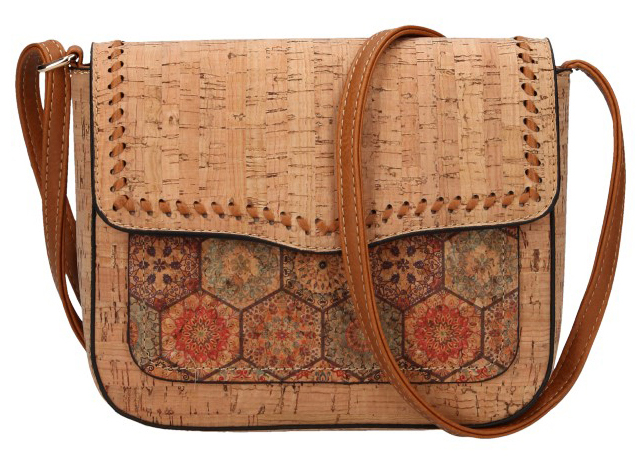 Crossbody dámská kabelka v korkovém designu 20252-M2