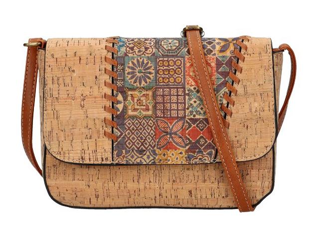 Crossbody dámska kabelka v korkovom dizajne SE306-1