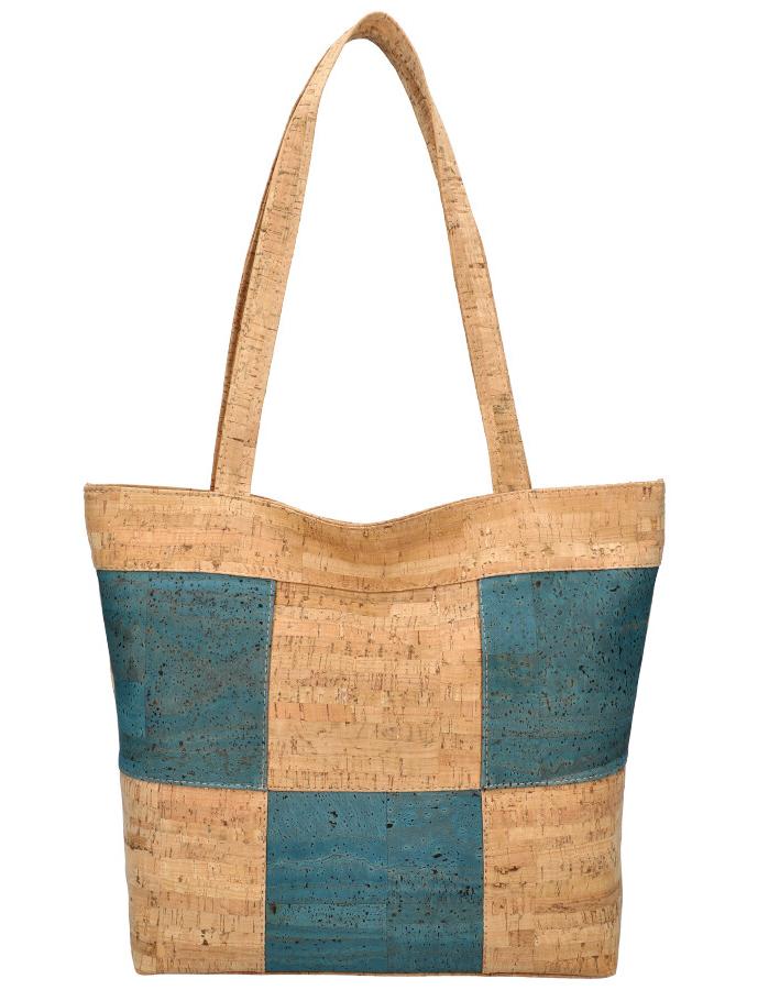 Korková přírodní dámská kabelka přes rameno modrá MR011