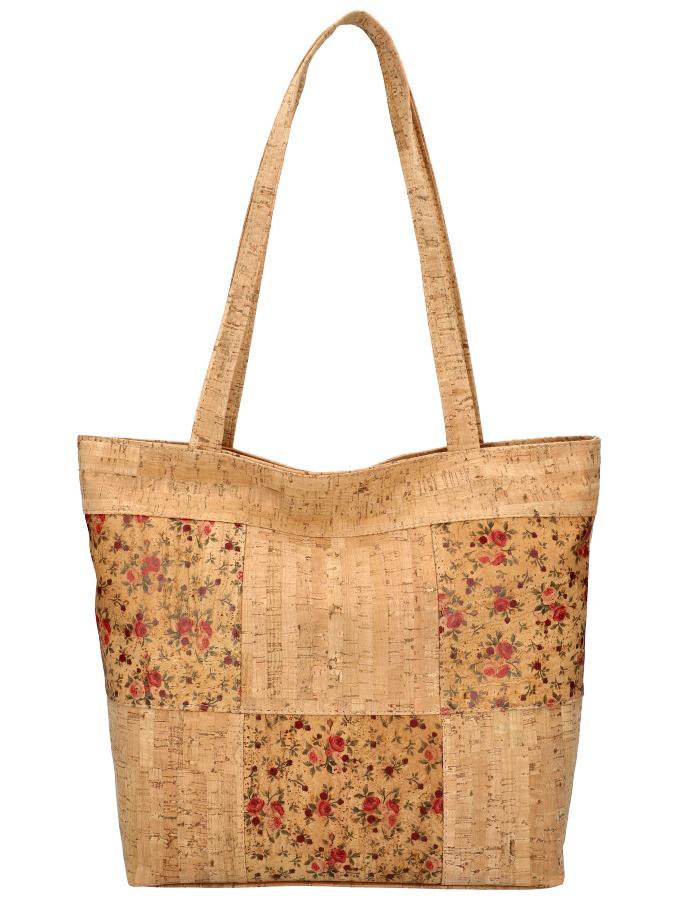 Korková přírodní dámská kabelka přes rameno s růžovými kvítky MR011