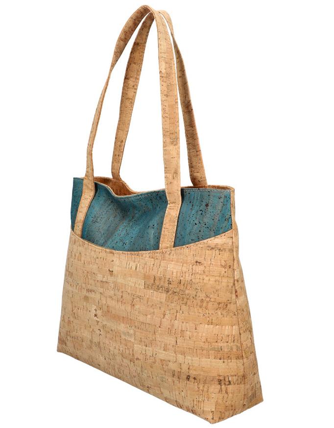 Korková přírodní dámská kabelka přes rameno modrá MR013