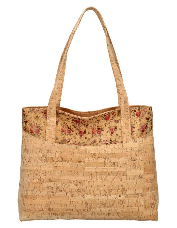 Korková prírodná dámska kabelka cez rameno s ružovými kvietkami MR013