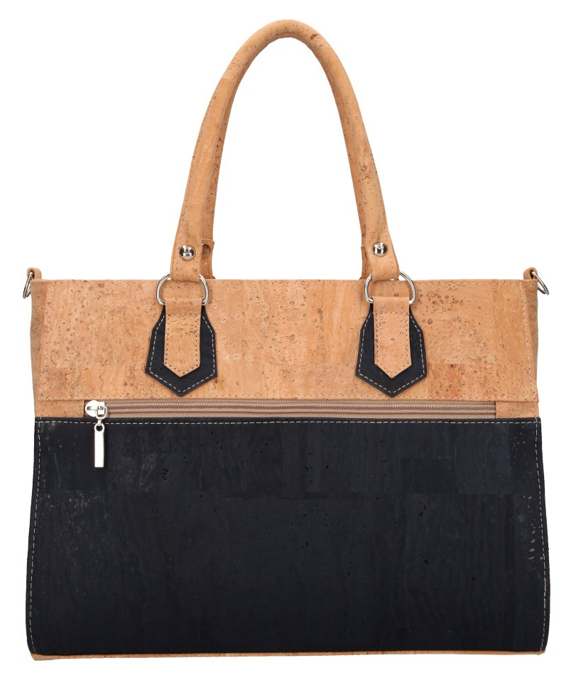 Korková tmavě modrá dámská kabelka do ruky