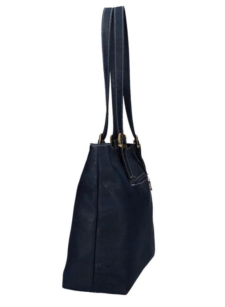 Korková dámská kabelka přes rameno červeno-béžovo-modrá