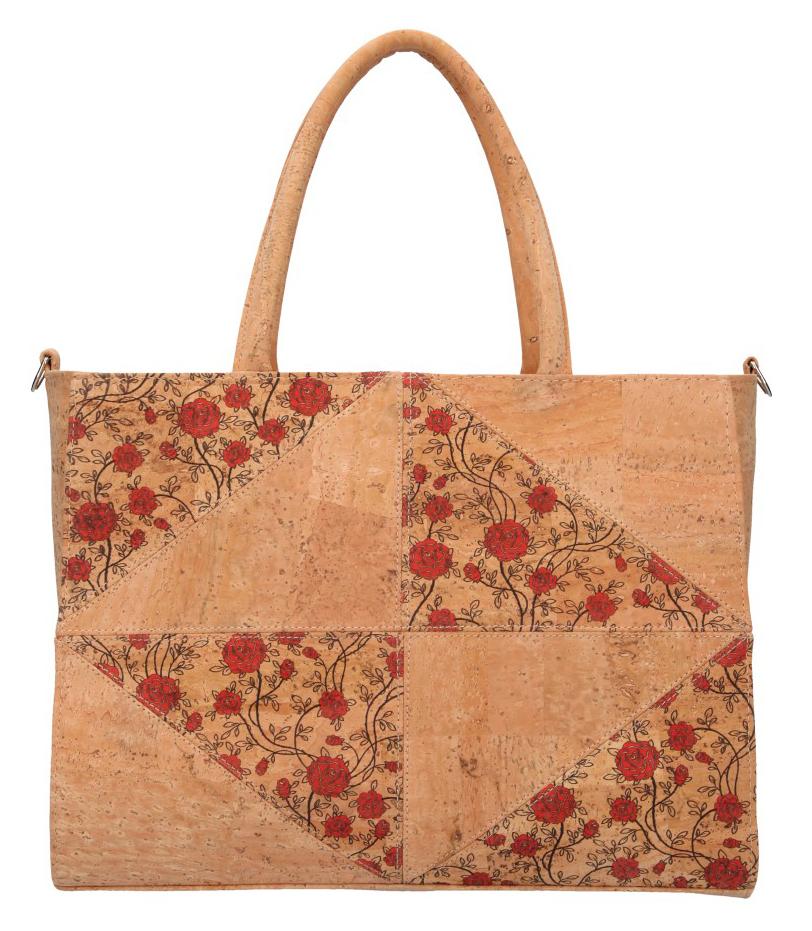 Korková dámska kabelka do ruky s červenými kvetmi