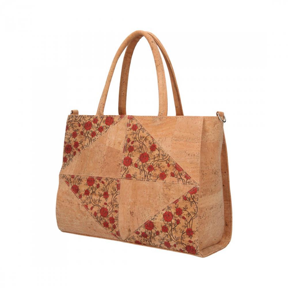 Korková dámská kabelka do ruky s červenými květy