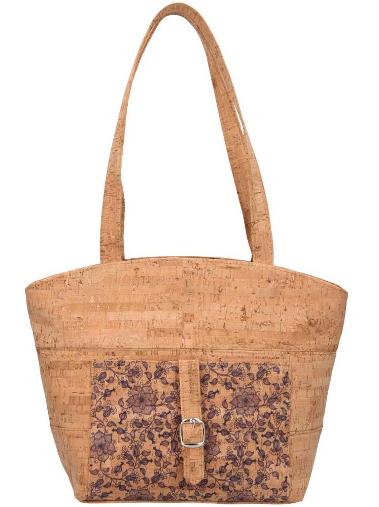 Korková přírodní dámská kabelka přes rameno s modrými kvítky