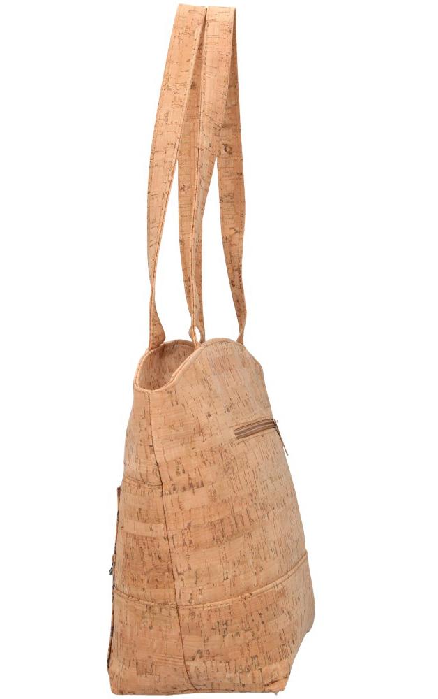 Korková prírodná dámska kabelka cez rameno s modrými kvietkami