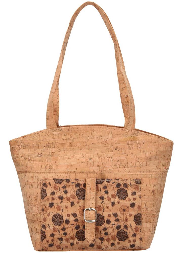 Korková prírodná dámska kabelka cez rameno s hnedými kvietkami