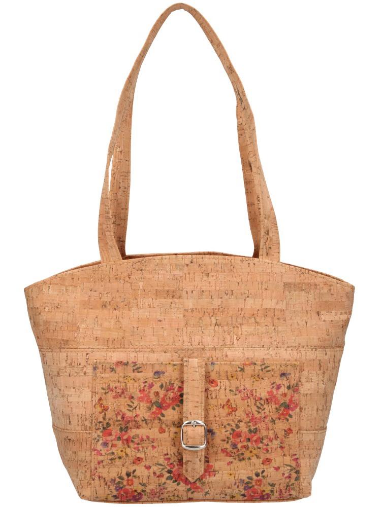 Korková prírodná dámska kabelka cez rameno s ružovými kvietkami