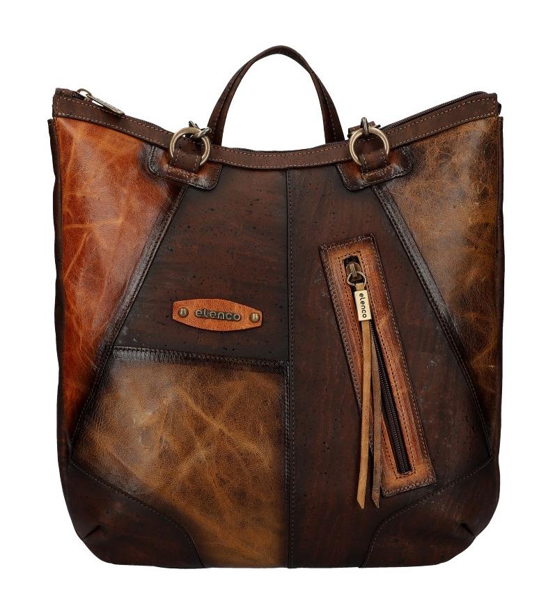 ELENCO Prestižní korkový/kožený dámský batoh přírodní EL5312