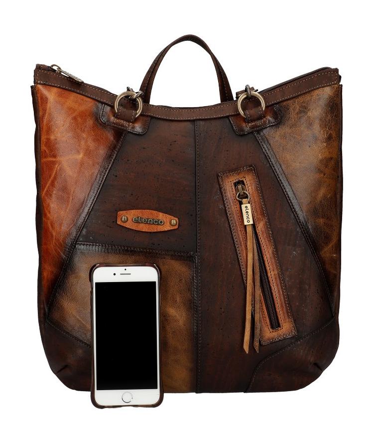 ELENCO Prestížny korkový / kožený dámsky batoh prírodný EL5312